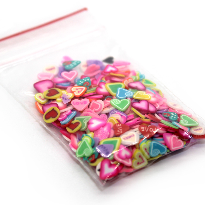 Heart fimo slices for slime