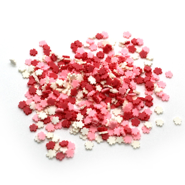 White and pink flower sprinkles for slime