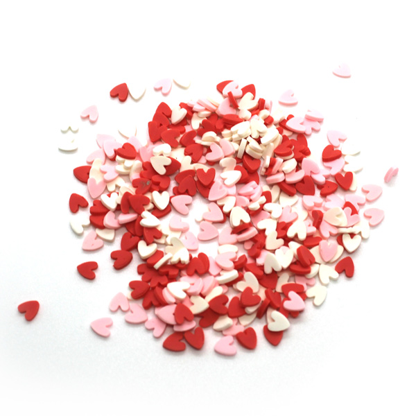 White and pink heart sprinkles for slime