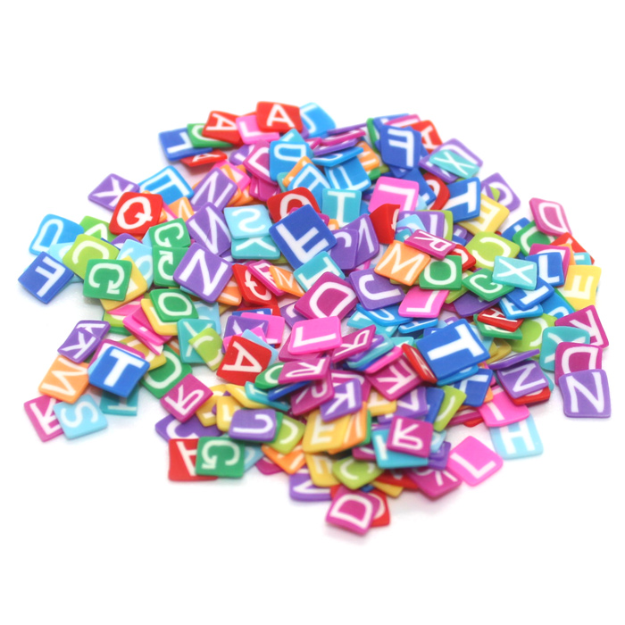 Alphabet Fimo slices for Slime