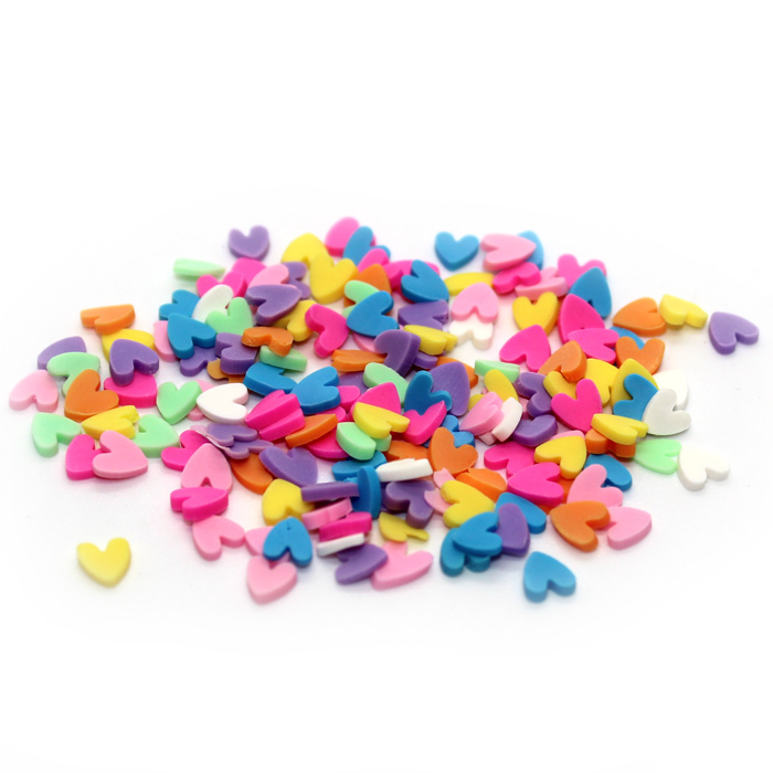 Coloured heart sprinkles for slime