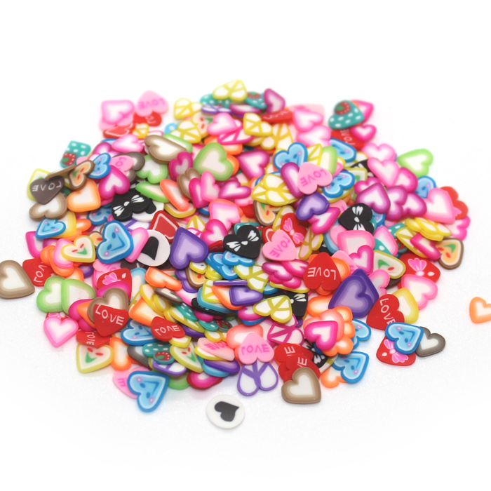 heart fimo slices