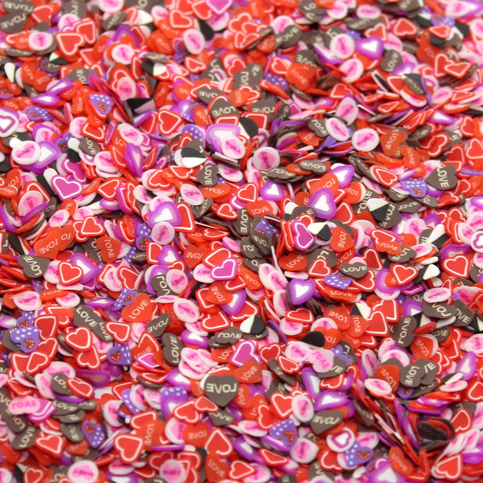 love heart fimo slices