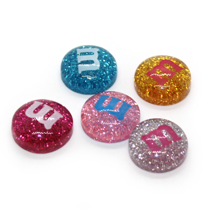 Transparent Glitter M&M Charms