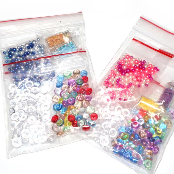 Mini bead, pearl and bottled confetti set