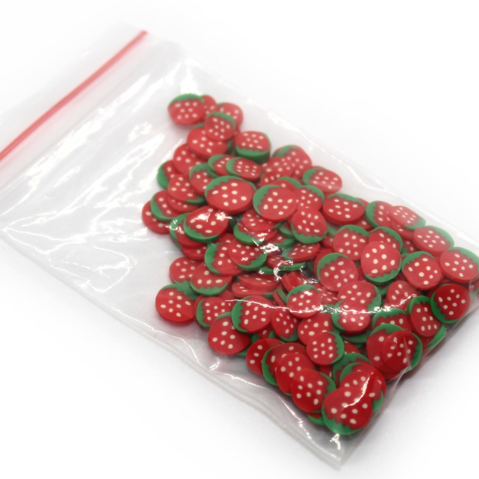 Strawberry Fimo slices for slime