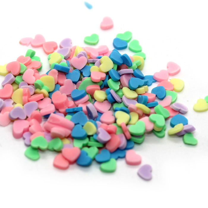Pastel heart sprinkles for slime