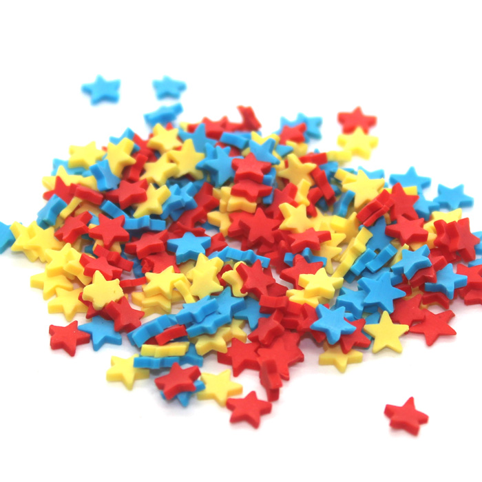 Blue red yellow star sprinkles