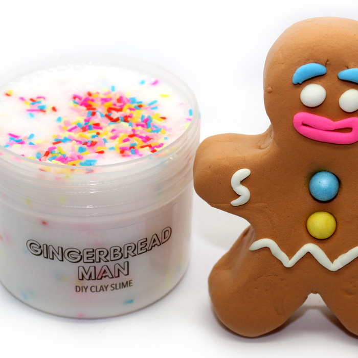 Gingerbread man diy clay slime