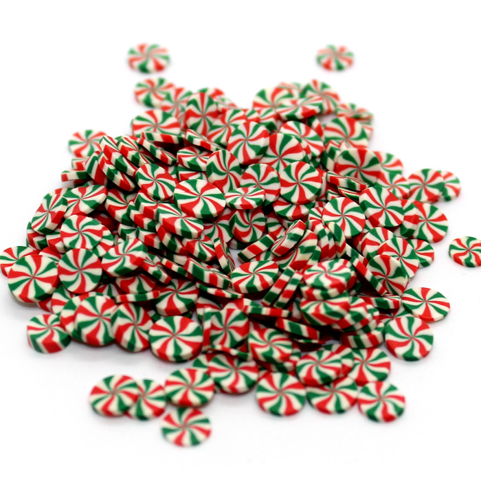 Green Red Peppermint sprinkles for slime