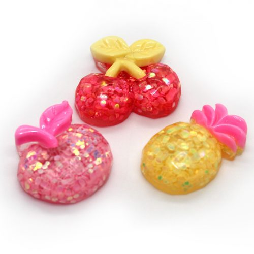 3pc sparkly fruit charms