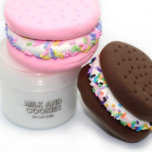 Milk and Cookies diy clay slime
