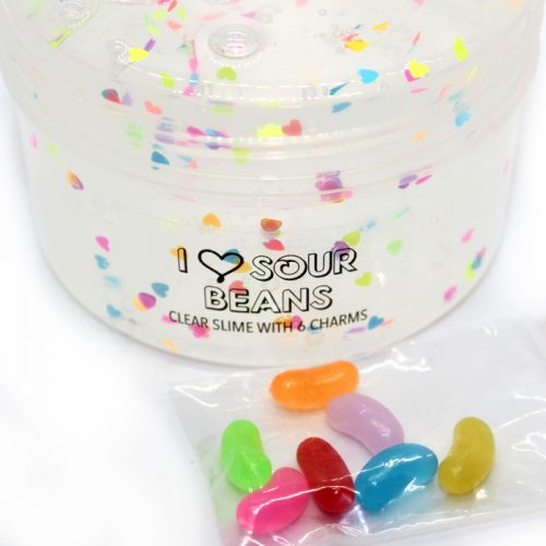 Sour Beans clear slime with charms