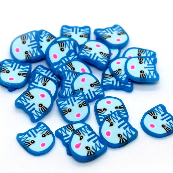 Large blue cat fimo slices for slime