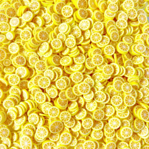 Lemon fimo slices for slime bulk