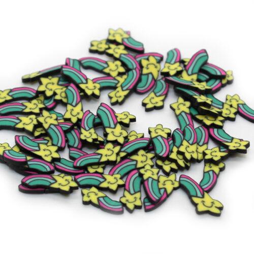 Rainbow star fimo slices for slime