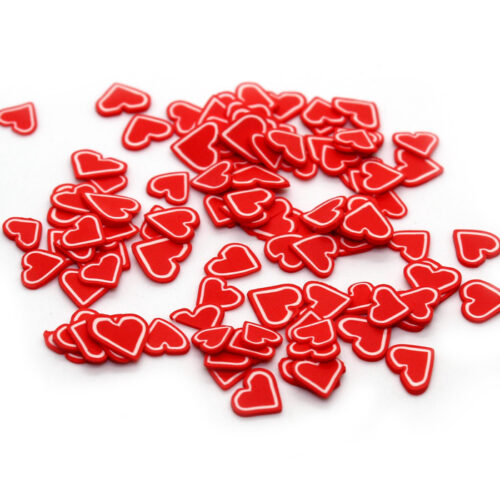 Red heart fimo slices for slime