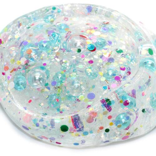 Glitter bubbles clear slime